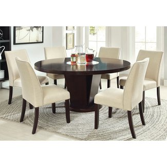 Furniture of America Vessice 7-Piece Round Pedestal Dining Set - Espresso