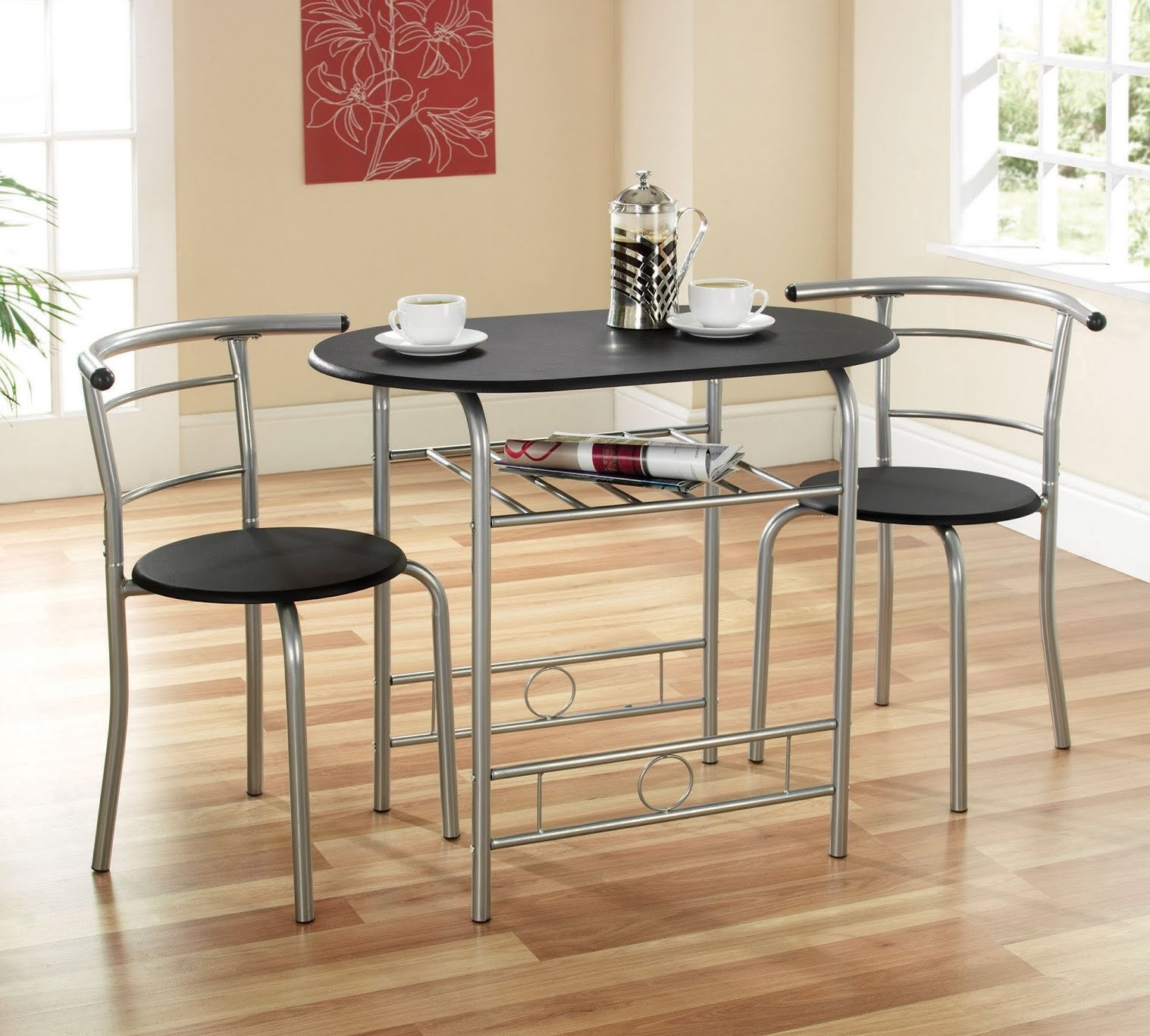 Beau Furniture. Round Brown Wooden Space Saving Table And Curvy .