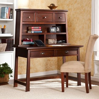 Furniture. Rustic Secretary Desk With Hutch Glass Door And ...