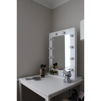 Furniture. Small Corner Vanity Desk With Tall Mirror And ...