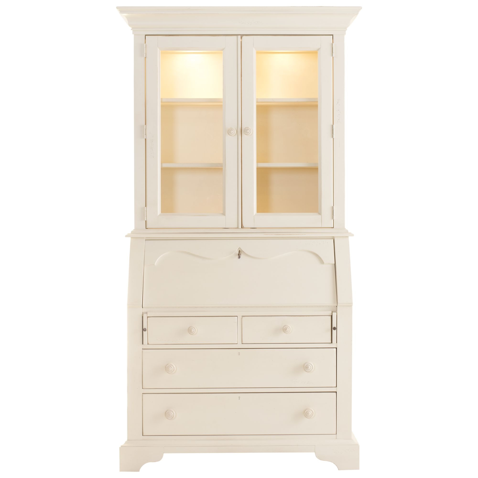 Furniture. Tall White Secretary Desk With Hutch Glass Door .