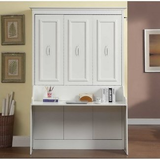 Gabriella Full Murphy Bed With Desk White Mdh