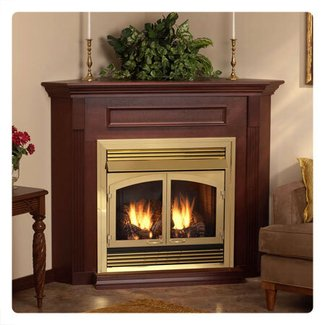GAS FIREPLACE CHERRY CORNER MANTEL – Fireplaces