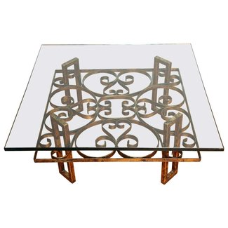 Gilded Wrought Iron Square Coffee Table with Scroll Motif ...