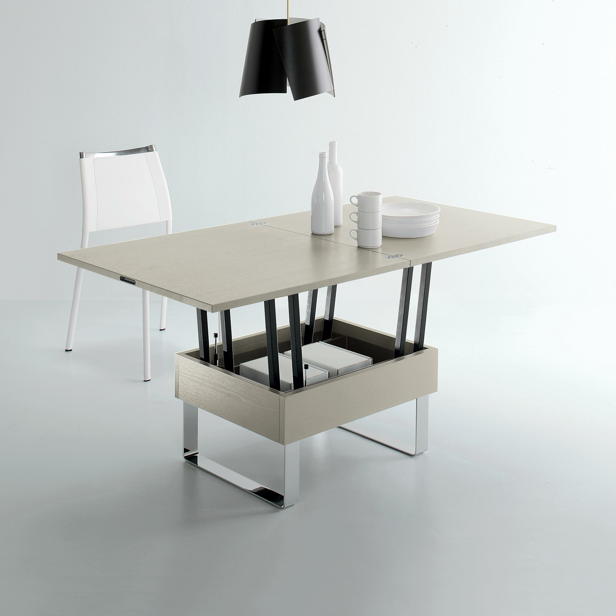 GIOVE: Extendable Coffee Table, 80/160x80 Cm, Height 41/74 .