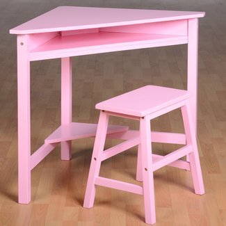 Girls Corner Desk & Stool Wood Computer Workstation Kids ...