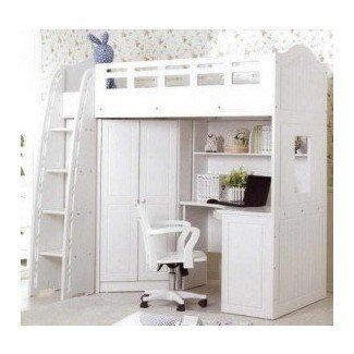 S White Loft Bed With Desk Foter