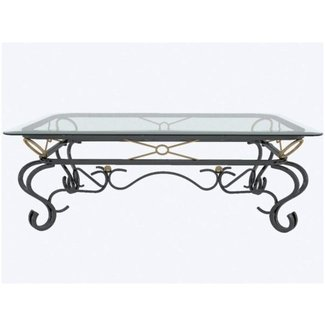 Glass Metal Coffee Table Hand Wrought Iron