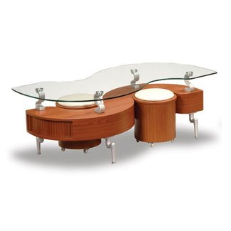 Global Furniture USA S-Shaped Glass-Top Coffee Table and 2 Mini Stools