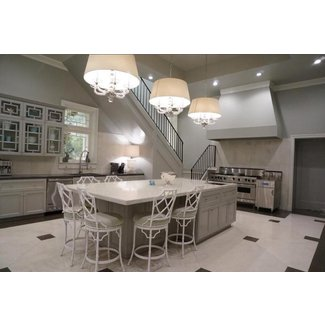 Gray Kitchen Island with White Bamboo Counter Stools ...