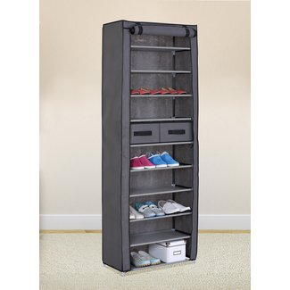 Grey 10 Tiers Shoe Rack with Dustproof Cover Closet Shoe Storage Cabinet Organizer