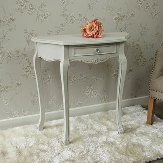 Grey wooden half moon ornate console table shabby french ...