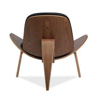 Hans J Wegner Style Shell Chair - Black Cushion