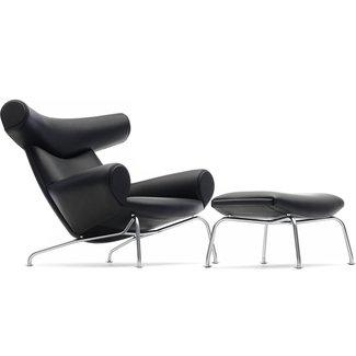 Hans Wegner Ej100 Ox Chair & Ottoman -
