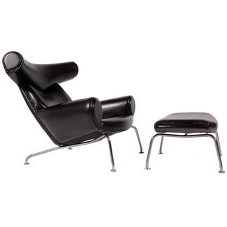 Hans Wegner Ox Chair and Ottoman at 1stdibs