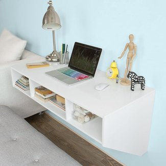 Haotian Wall-mounted Table Desk,Home Office Desk Workstation,Floating desk with storage,FWT14-W,White