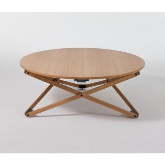 HEIGHT-ADJUSTABLE ROUND OAK COFFEE TABLE SUBEYBAJA BY ...