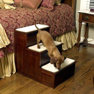 Herzhers Three Step Wood Dog Steps - Warm Cherry Finish