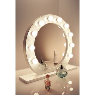 High Gloss White Round Hollywood Makeup Mirror with Warm ...