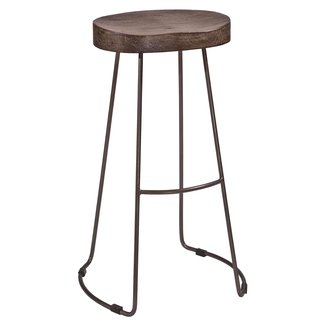 Hobbs Tractor Non-Swivel Stool in Distressed Black