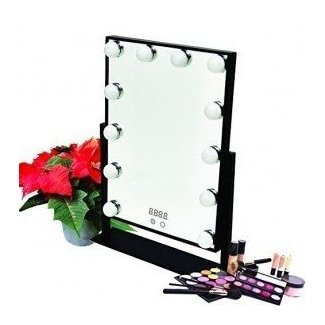 Hollywood Table Top Make Up Vanity Mirror Dimmable LED Light Bulbs & Touch Control Design & Digital Time by Estala (Black)