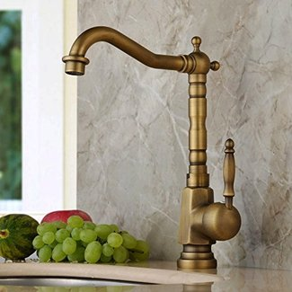 Home Built Antique Brass Finish Widespread Kitchen Sink Faucet Centerset Tap