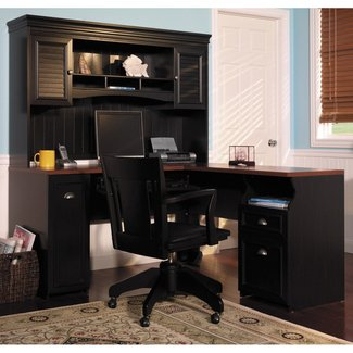 Home Office Desk With Hutch Painted With Black Color With