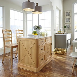 Home Styles Country Lodge Pine Kitchen Island with Quartz ...