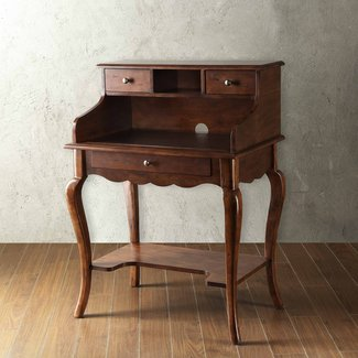 Homelegance Secretary Desk with Hutch - Brown Cherry at ...