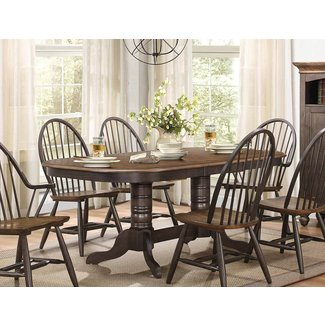 Homelegance Veltry Round Pedestal Dining Table - Weathered ...