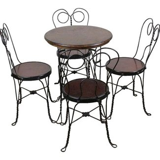 Ice Cream Parlor Table and Four Chairs c. 1910 from