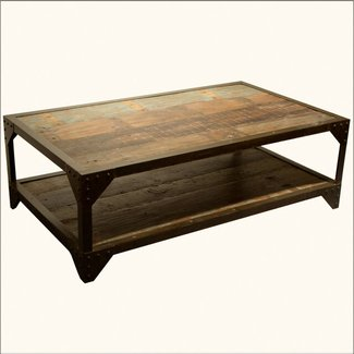 Industrial Wrought Iron & Old Wood 2 Tier Coffee Table