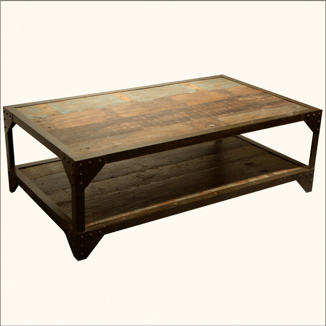 Incroyable Industrial Wrought Iron U0026 Old Wood 2 Tier Coffee Table