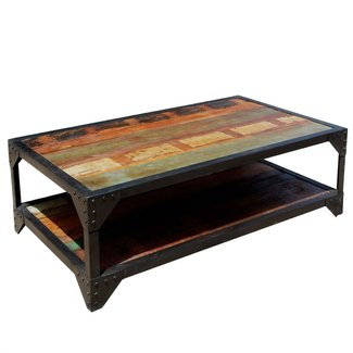 Industrial Wrought Iron & Reclaimed Wood 2 Tier Coffee Table