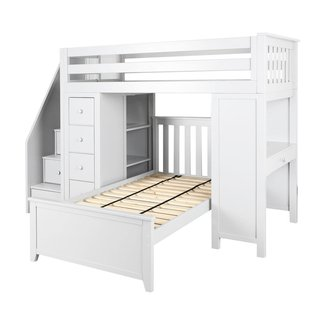 Jackpot! Deluxe All-in-One Solid Hardwood Staircase Loft Bed + Dresser