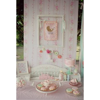 Kara's Party Ideas Shabby Chic Pink and Mint Baby Shower
