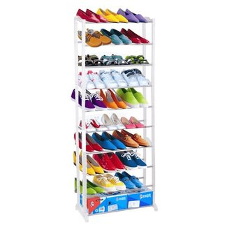 Keland 10-Tier Shoe Rack, Free Standing 30 pair Shoe Organizer/Shelf/Tower Storage Cabinet, Can Assembled in 4-Tier, 7-Tier or 10-Tier, White