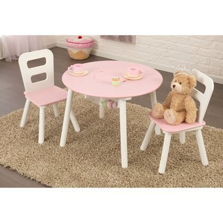 KidKraft Round Table & 2 Chair Set - Pink & White - 26165