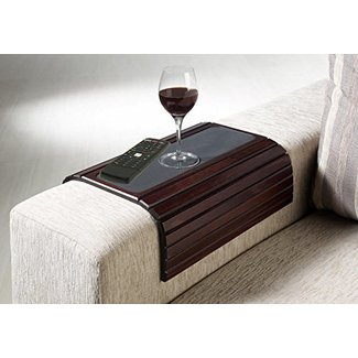 Kleeger Sofa Arm Tray Table: Wood Side Table Tray| Flexible, Portable & Folding Couch Drink Holder
