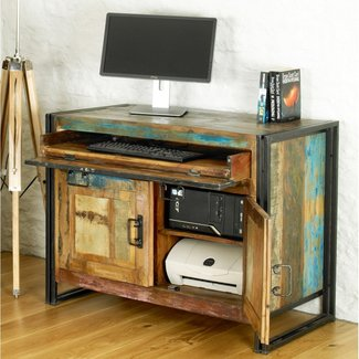 Kuredu solid reclaimed wood office furniture hideaway home ...