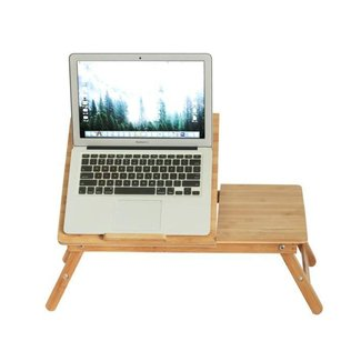 Laptop Desk Bed Serving Tray Bamboo Foldable Portable Adjustable Breakfast Table with Drawer By BAMBUROBA
