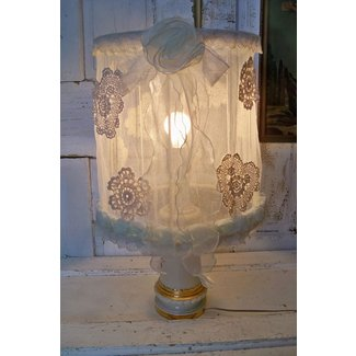 Large lamp shade white shabby chic handmade sheer soft ...