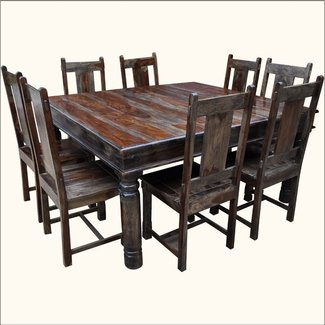 Large Solid Wood Square Dining Table & Chair Set For