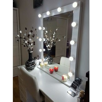 Large White Matt Hollywood Vanity Makeup Mirror With LED ...