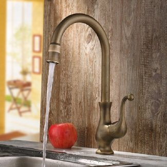 Lelan Antique Brass Traditional Kitchen Faucet