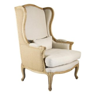 Leon French Country High Back Linen Wing Chair | Kathy