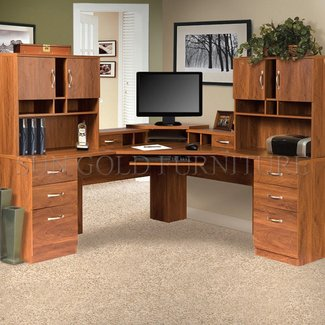 Lewisville L-Shape Executive Desk with Hutches