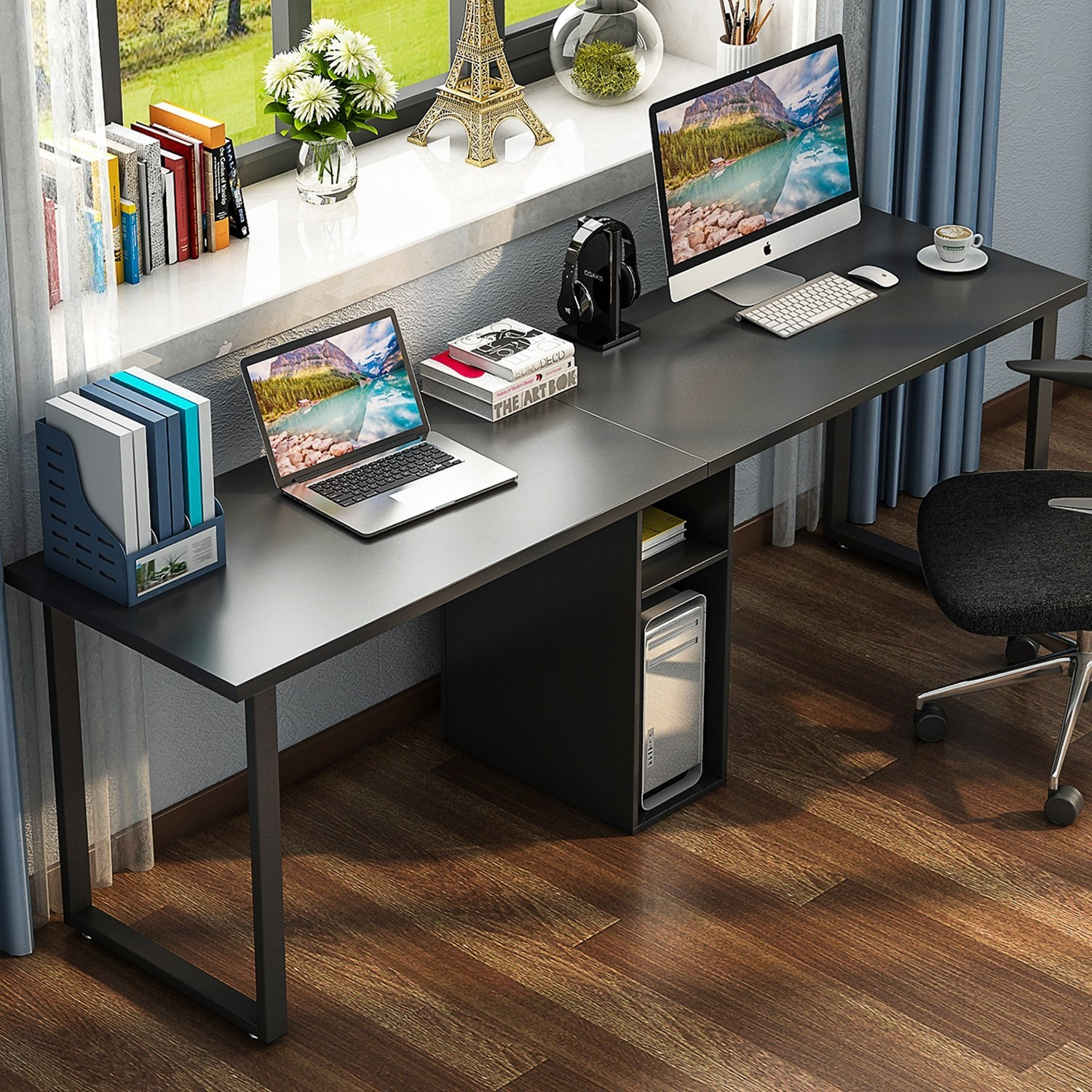 Home Office Computer Desk Modern Executive Study Table with Shelves Cabinet