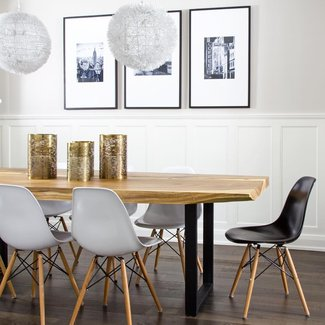 LIve Edge Dining Table with Eames Molded Plastic Dining ...