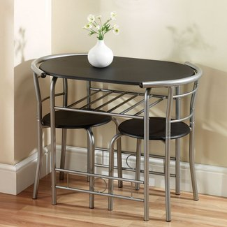 Lovely Round Space Saving Dining Table and Chairs - Light